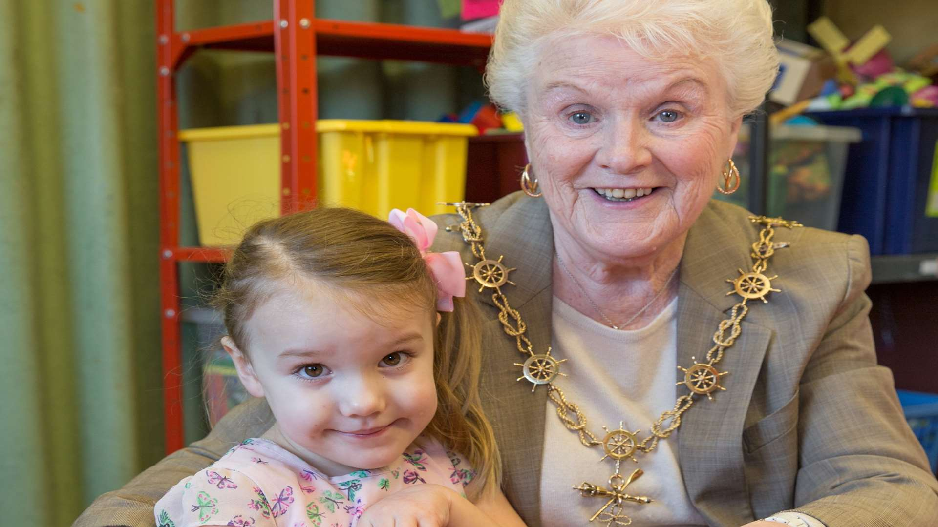 Cllr Greta Goatley makes friends with youngsters at Noah's Ark Playgroup, St George's Church Hall, Gravesend. Picture: Matthew Walker