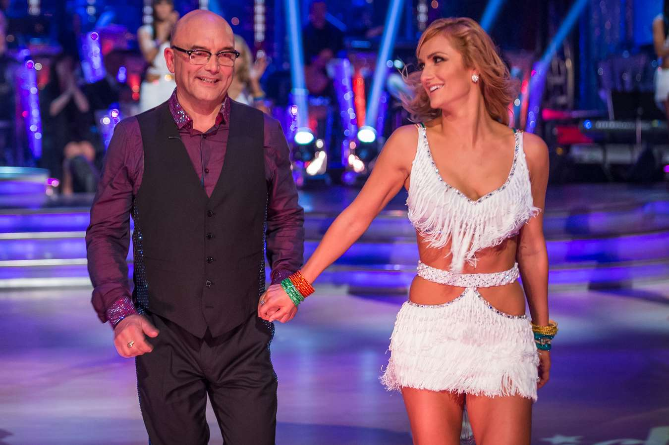 MasterChef star Gregg Wallace is paired with professional dancer Aliona Vilani. Picture: BBC/Guy Levy