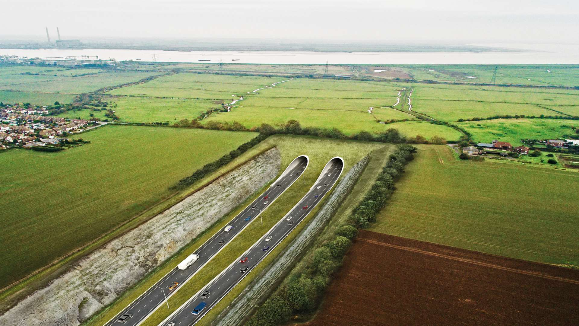 How the proposed Lower Thames Crossing will look, with a bored tunnel between the villages of Chalk and Shorne to Essex