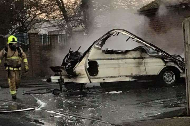 The burnt out caravan. Pic: Lisa Mitchell