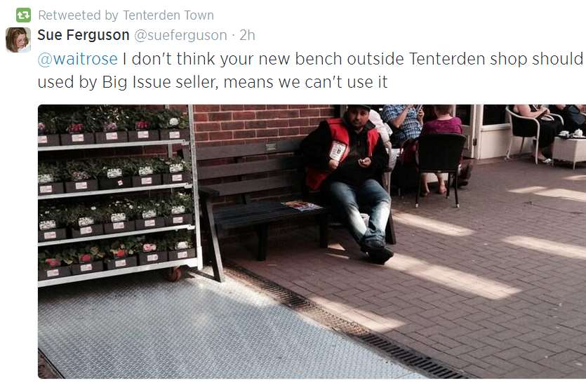 Sue Ferguson posted a picture of the Big Issue seller outside Waitrose in Tenterden on Twitter