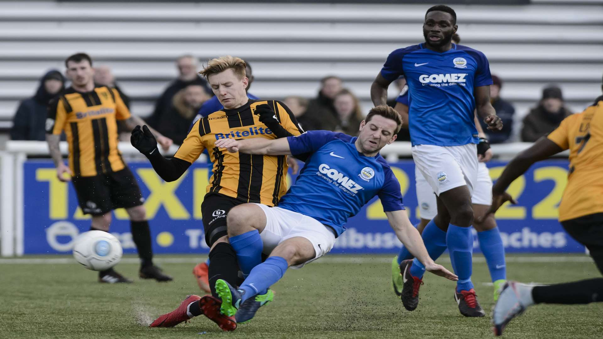 Connor Essam tackles Joe Pigott. Picture: Andy Payton