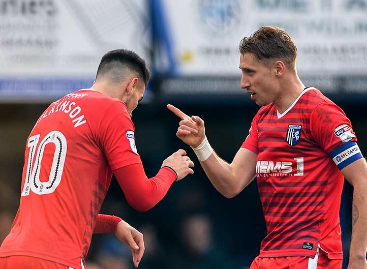 Conor Wilkinson and Lee Martin both claimed Gillingham's second goal Picture: Ady Kerry