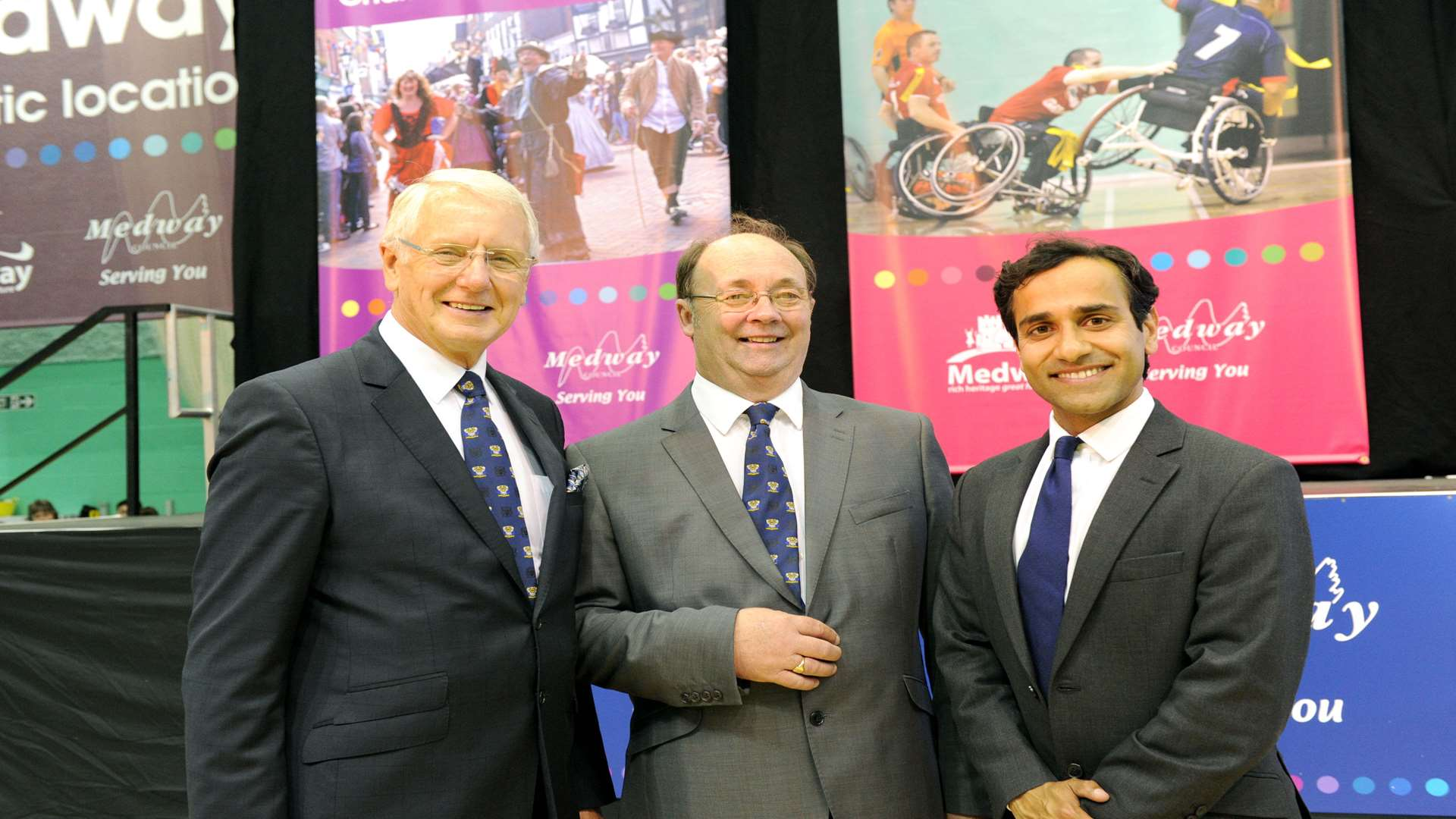Mike O'Brien, Barry Kemp, Rehman Chishti at the 2015 election count