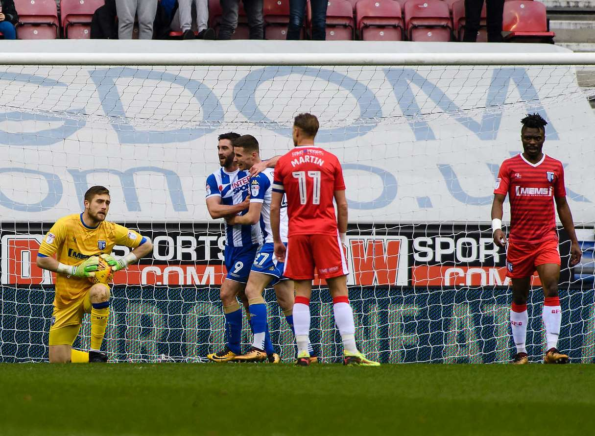 Gillingham concede in the first half at Wigan Picture: Andy Payton