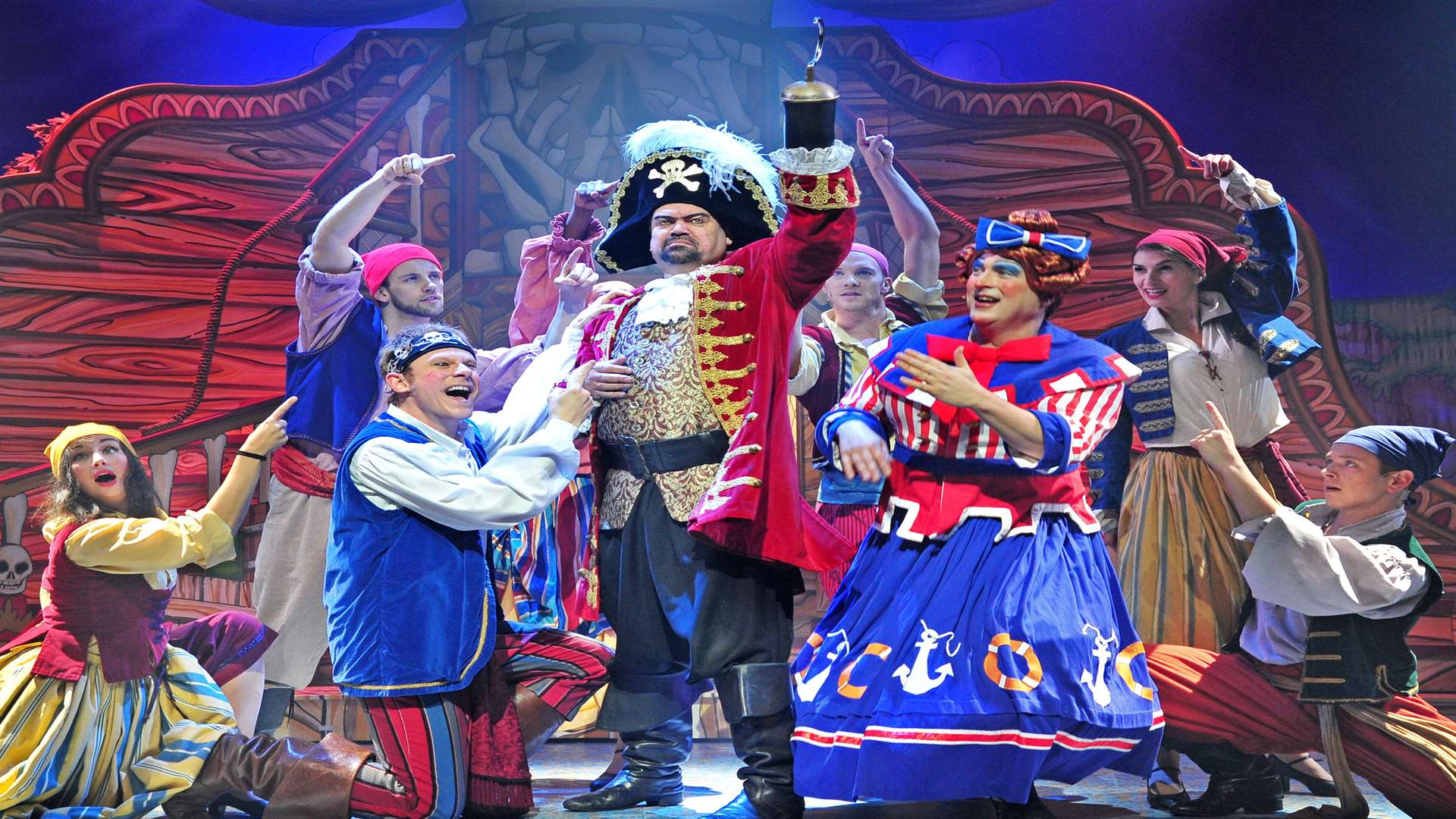 Former EastEnder Shaun Williamson as Captain Hook in the Marlowe Theatre's panto, Peter Pan