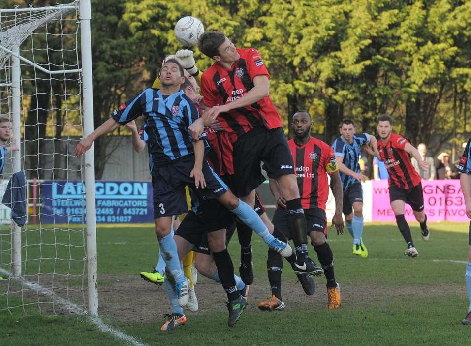 Chatham (red and black) start the new season at home to Dereham Picture: Steve Crispe