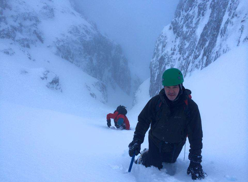 Kevin Finlon making his way up gully 4 of Ben Nevis five minutes before the avalanche