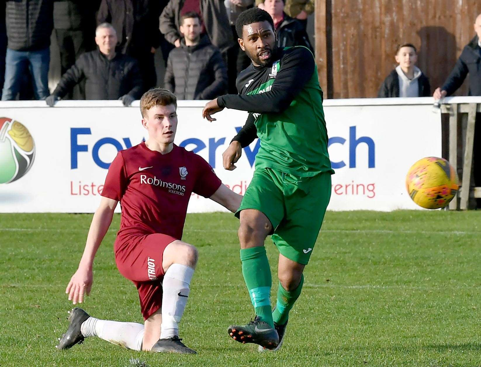Gavin Tomlin curls home the goal which put Cray Valley 2-0 ahead on aggregate against Canterbury at Salters Lane on Saturday Picture: Keith Gillard