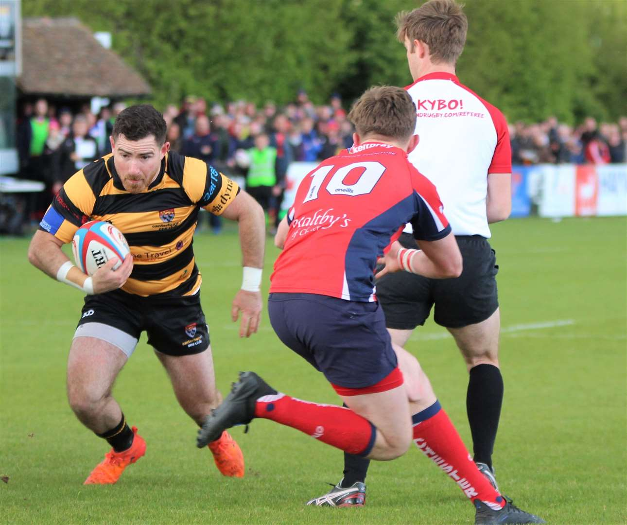 Dan Smart spots a gap to score Canterbury's opening try against Chester Picture: Phillipa Hilton