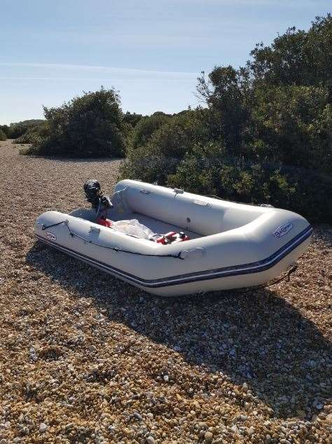 One of the dinghies used in the people smuggling operation and abandoned at the beach in Walmer. Picture South East Regional Organised Crime Unit