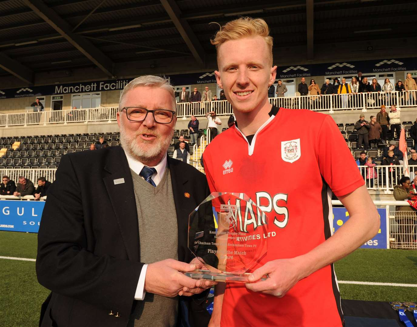 Tom Fitzgerald collects the man-of-the-match award following Chatham's Kent Senior Trophy success Picture: Steve Crispe