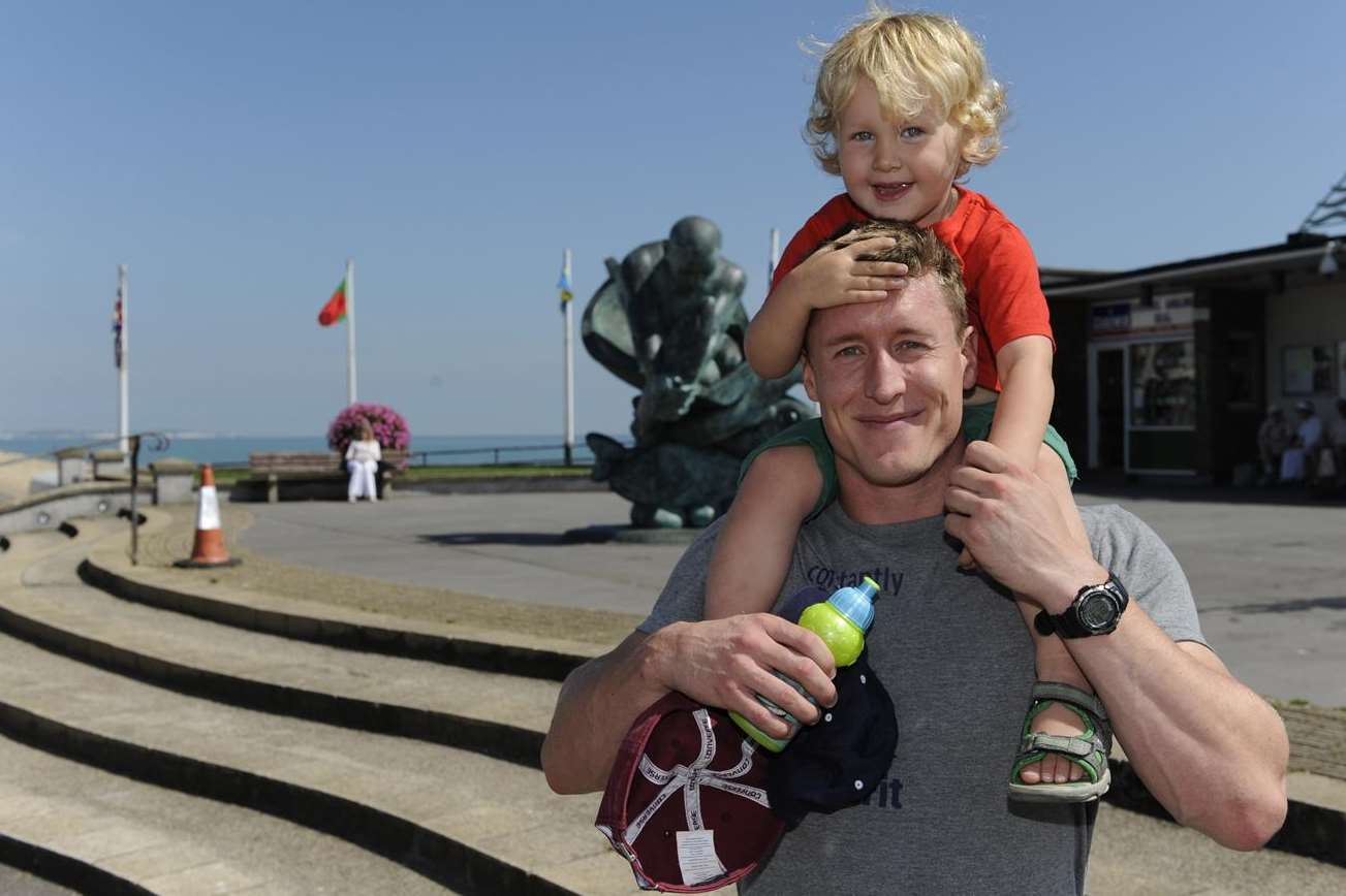 Harvey Coles, two, aims for a better view on Deal seafront. Picture: Tony Flashman