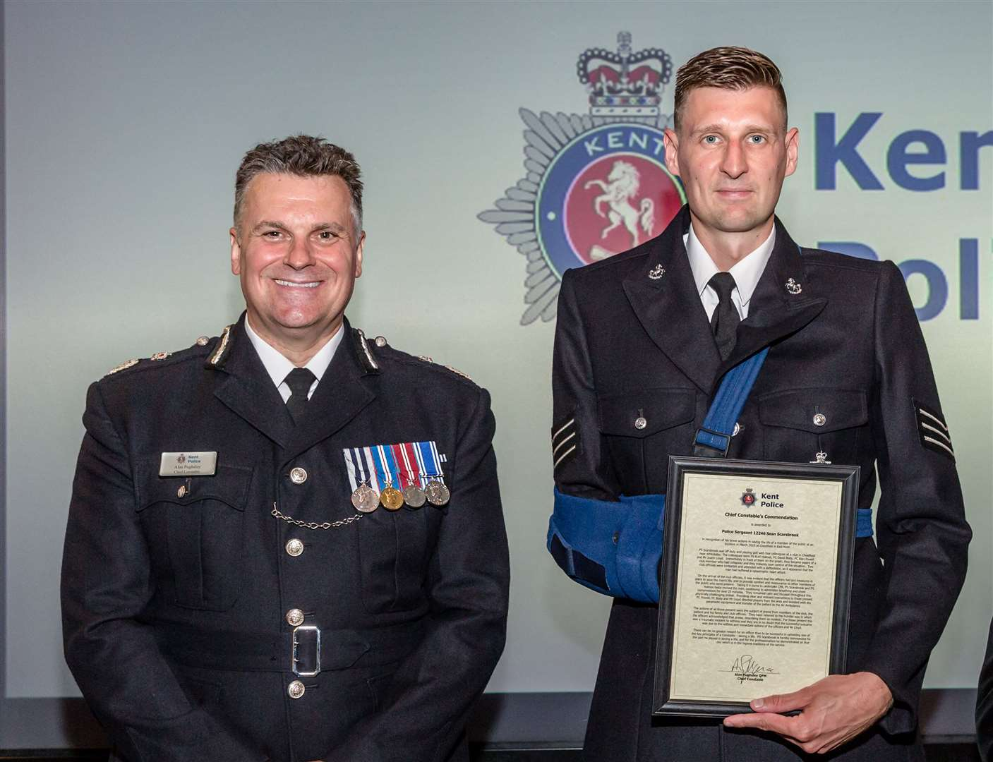 Sgt Scarsbrook with Chief Constable Alan Pughsley . Pic: Alexa Kelly Photography