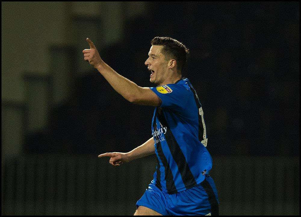 Callum Reilly celebrates his goal for Gillingham Picture: Ady Kerry
