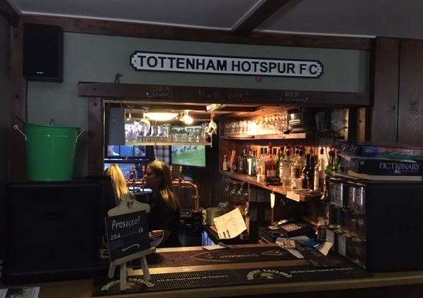 There's no doubt which football team the pub favours