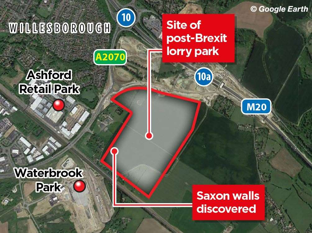 What could be a Saxon wall has been discovered in one corner of the site next to Church Road