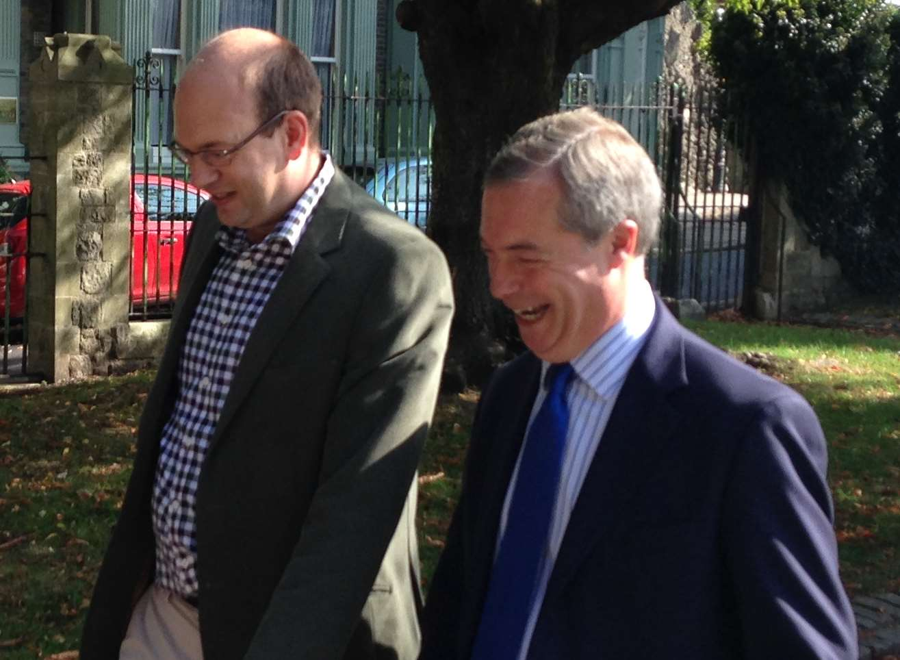 Mark Reckless with Nigel Farage in the Rochester Castle grounds