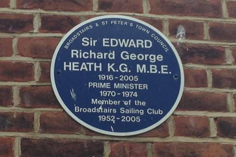 One of the blue plaques in Broadstairs dedicated to Sir Edward Heath