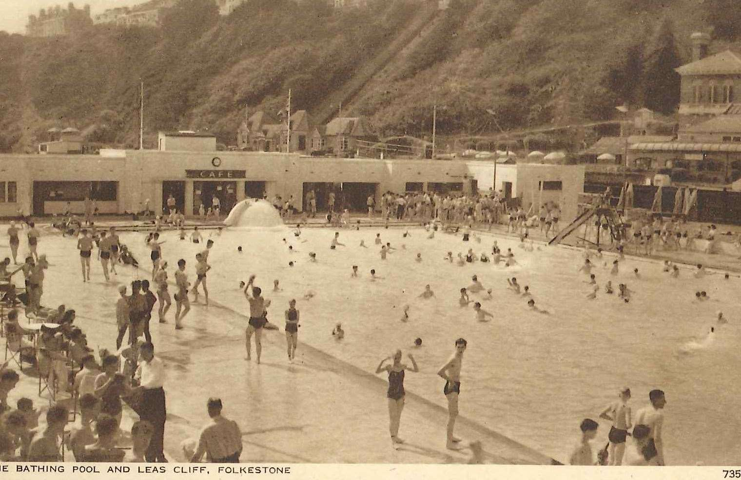 A picture postcard of the bathing pool in Folkestone which was filled in in the early 1980s Picture: Margaret Shorland