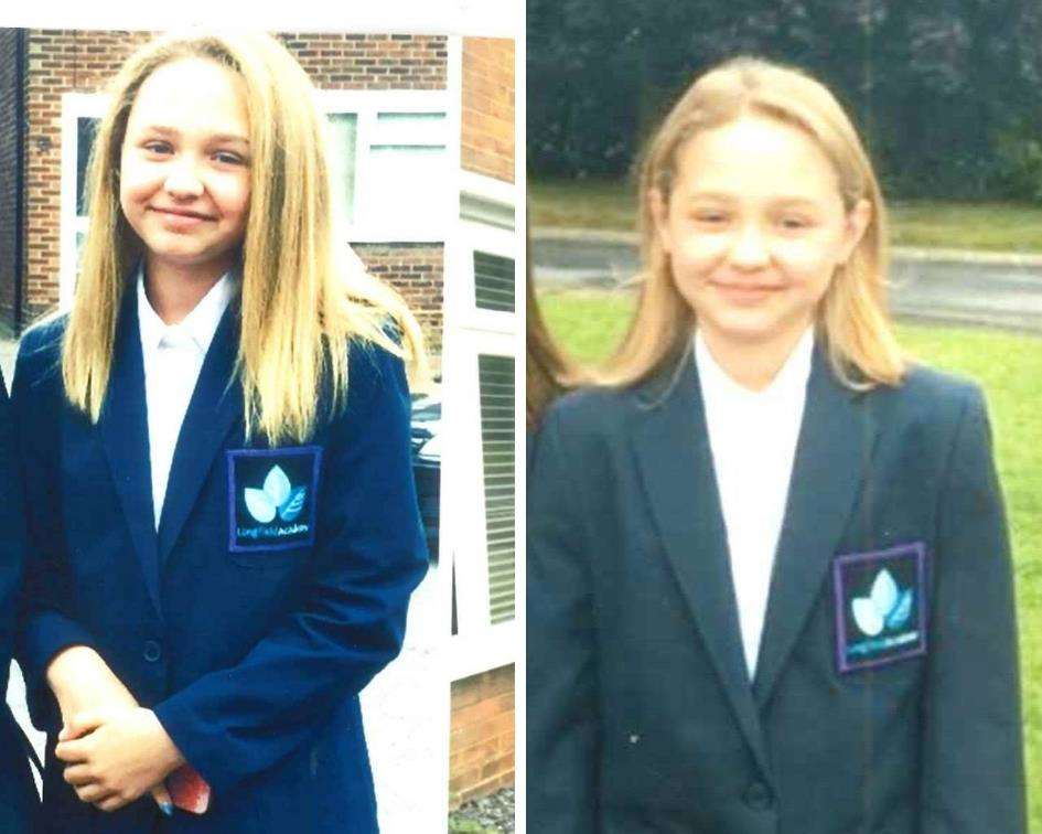 Gracie Maddox who was run over by a car last year. Her in year 7 and year 8 on first day of school. Picture: Caitlin Webb, Local democracy reporter (4147225)