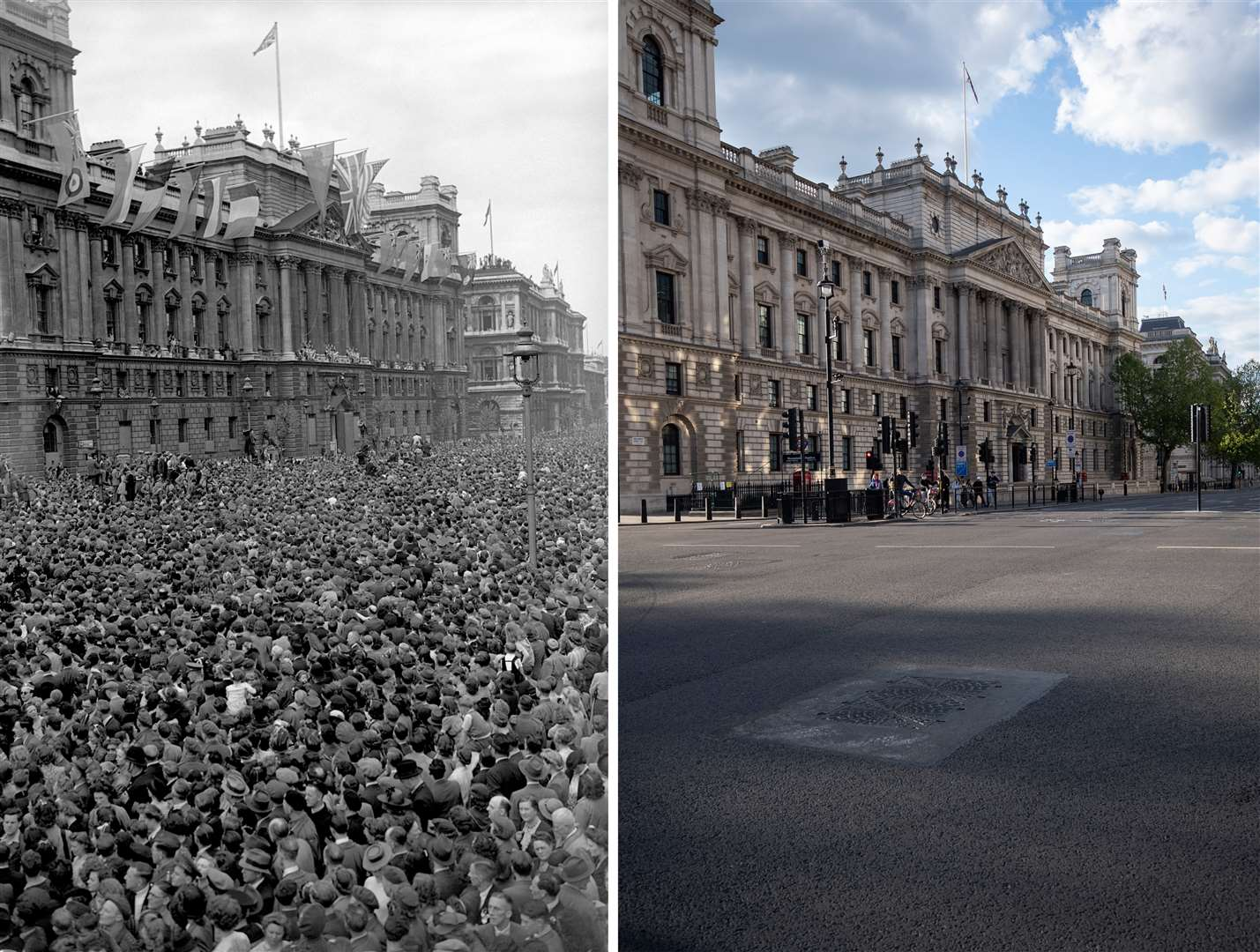Whitehall during the celebrations – and during lockdown (PA)
