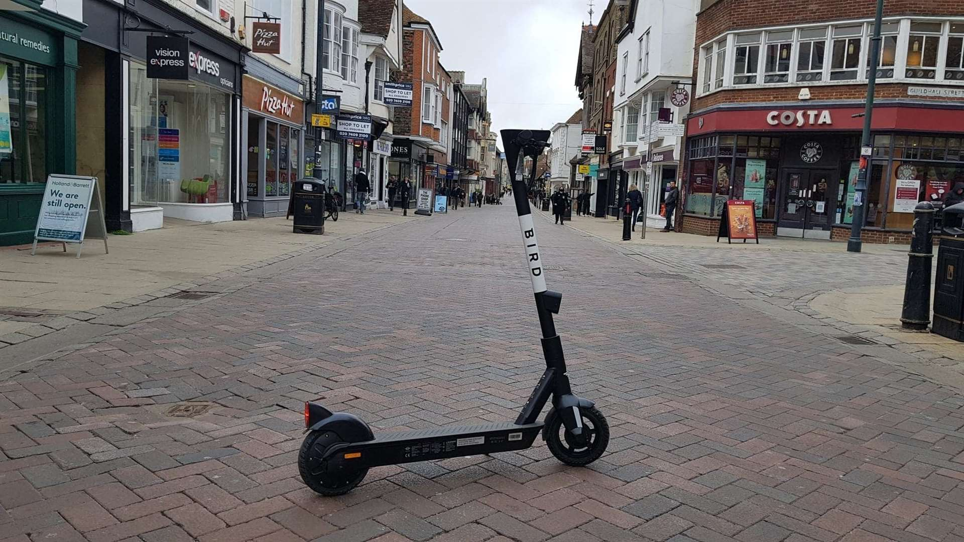 Bird e scooters are available to hire in Canterbury