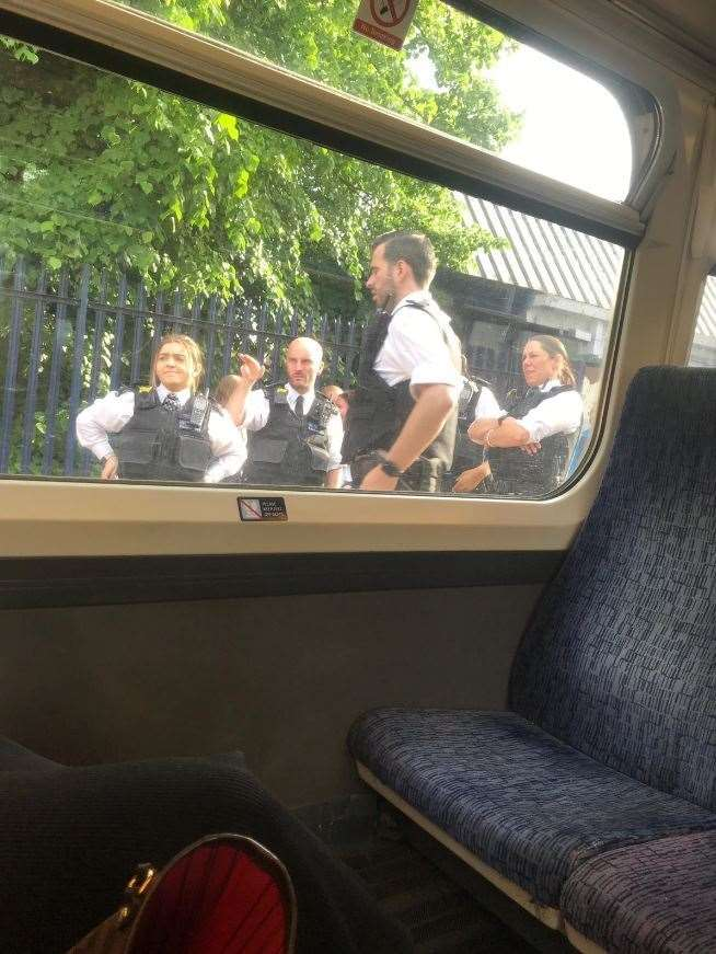 Police on the platform at Sidcup