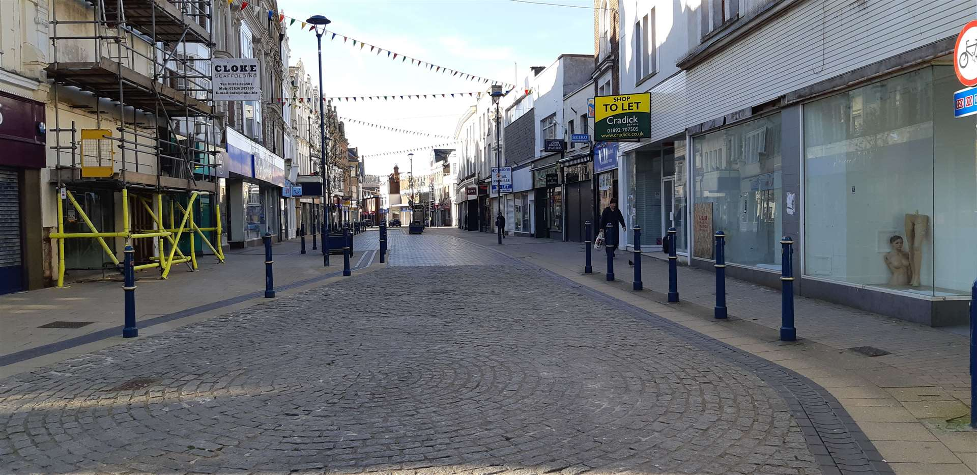 Dover's precinct at Biggin Street deserted after the first lockdown last year