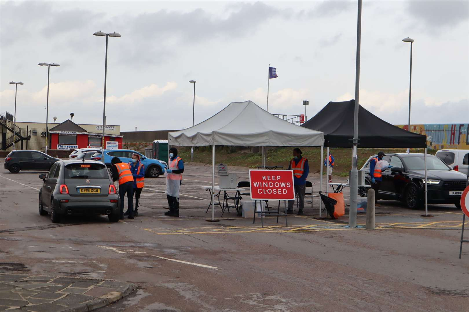 Car entering the temporary coronavirus testing station in Beach Street, Sheerness. Picture: John Nurden