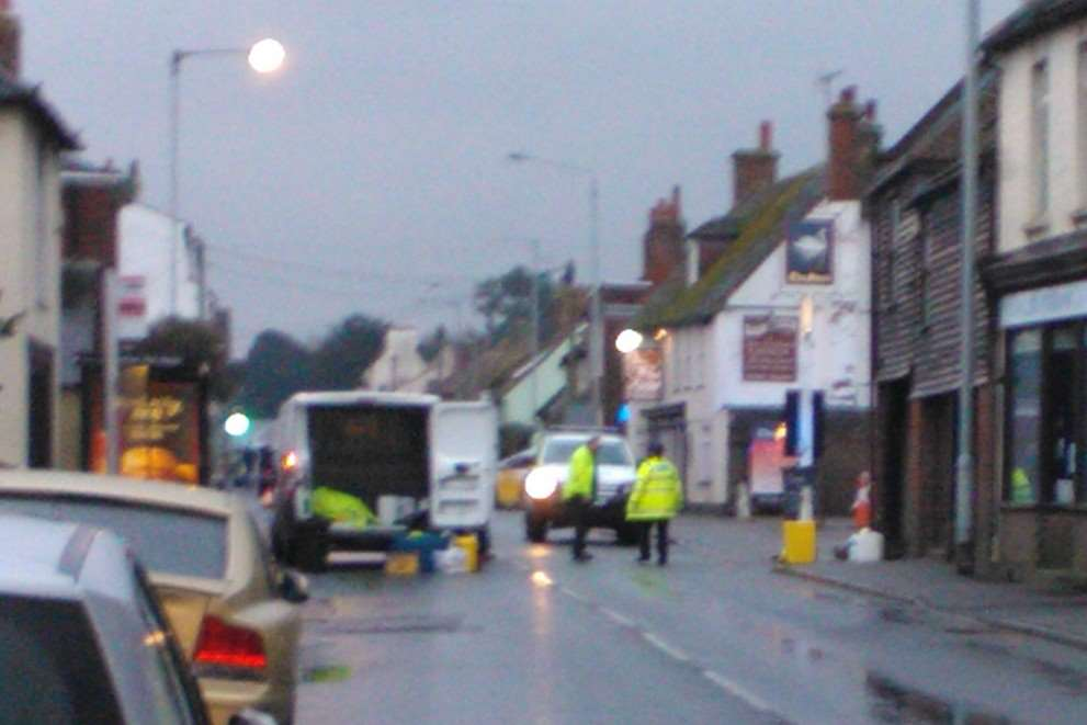 Part of London Road remained cordoned-off for most of the day as an investigation was carried out