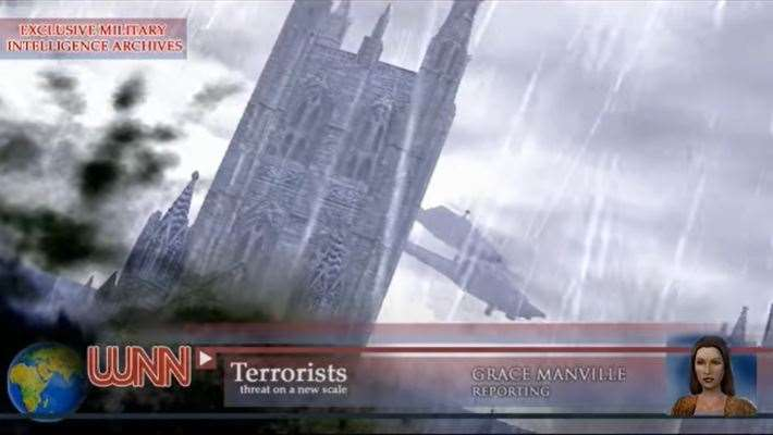 Helicopters over the cathedral at Canterbury in War on Terror