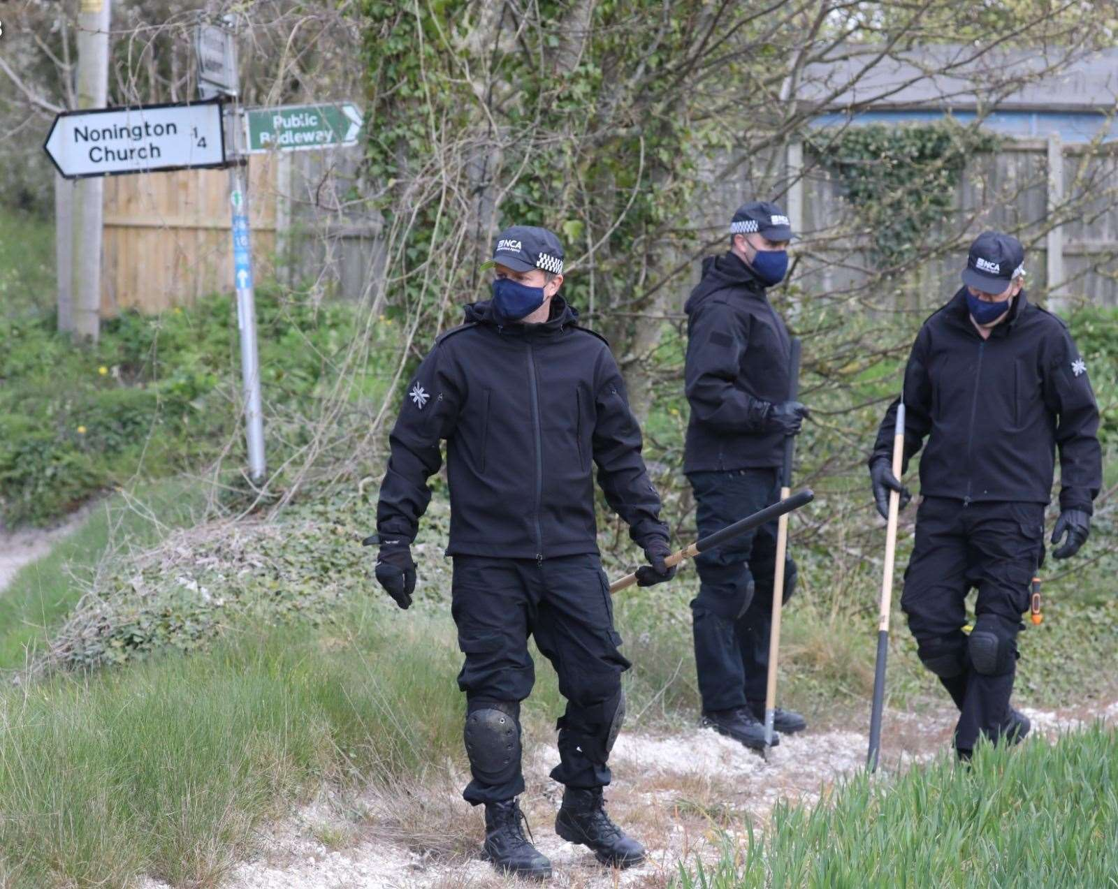 Police searching for clues in the hunt for the killer of Julia James. Picture UKNIP