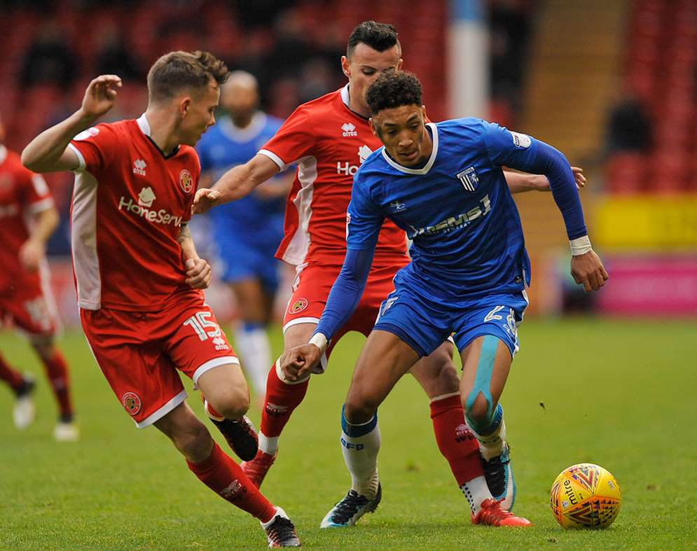 Sean Clare on the ball for the Gills at Walsall Picture: Ady Kerry