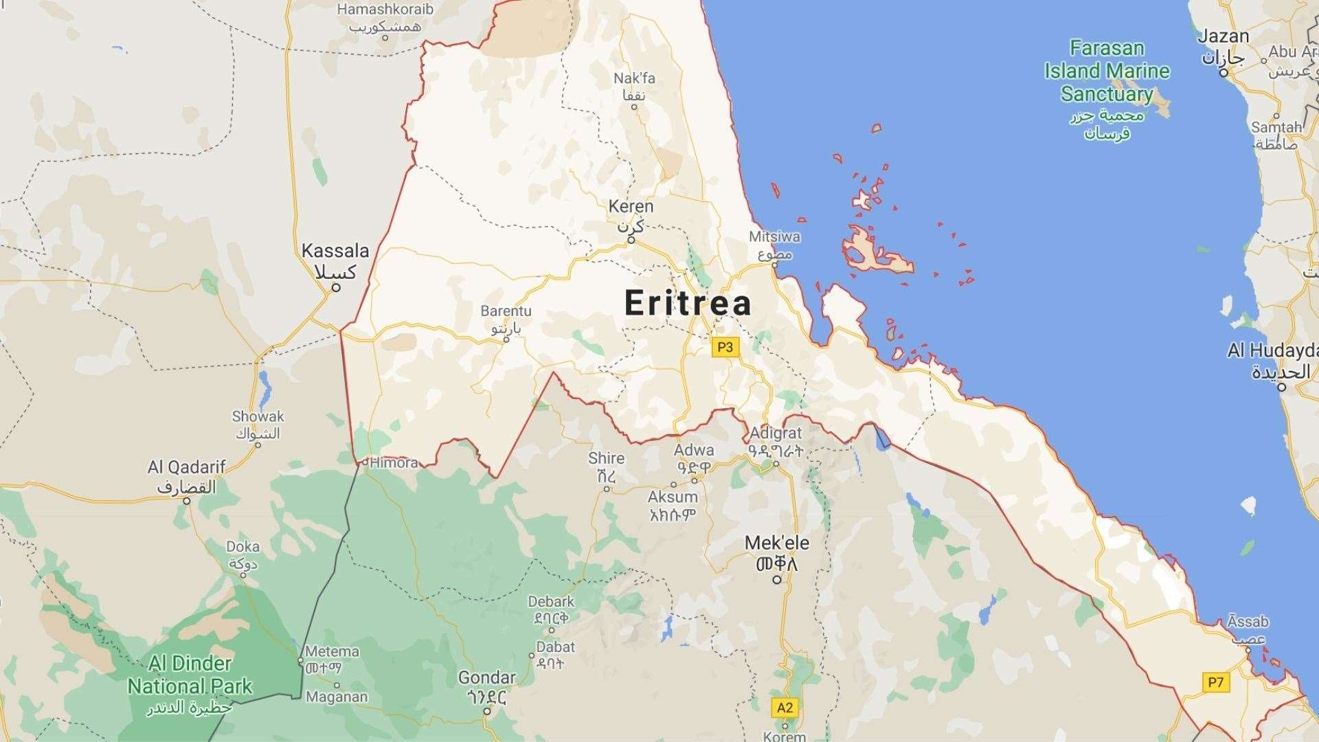 Eritrea sits to the east of Sudan. Picture: Google Maps