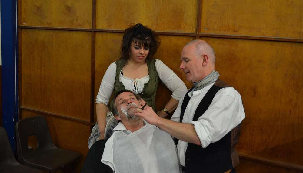 Chris Chedzey as Sweeney Todd with Angela Gallone as Mrs Lovett and Derry Martin as Judge Turpin