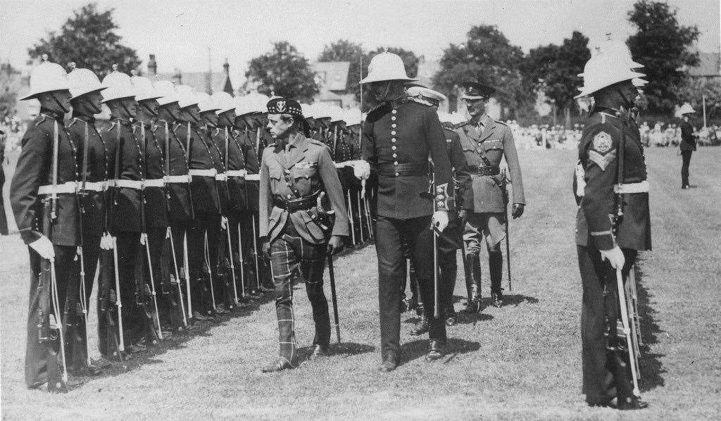 H.R.H. The Prince of Wales inspects a Guard of Honour at Royal Marines barracks in Deal in 1935