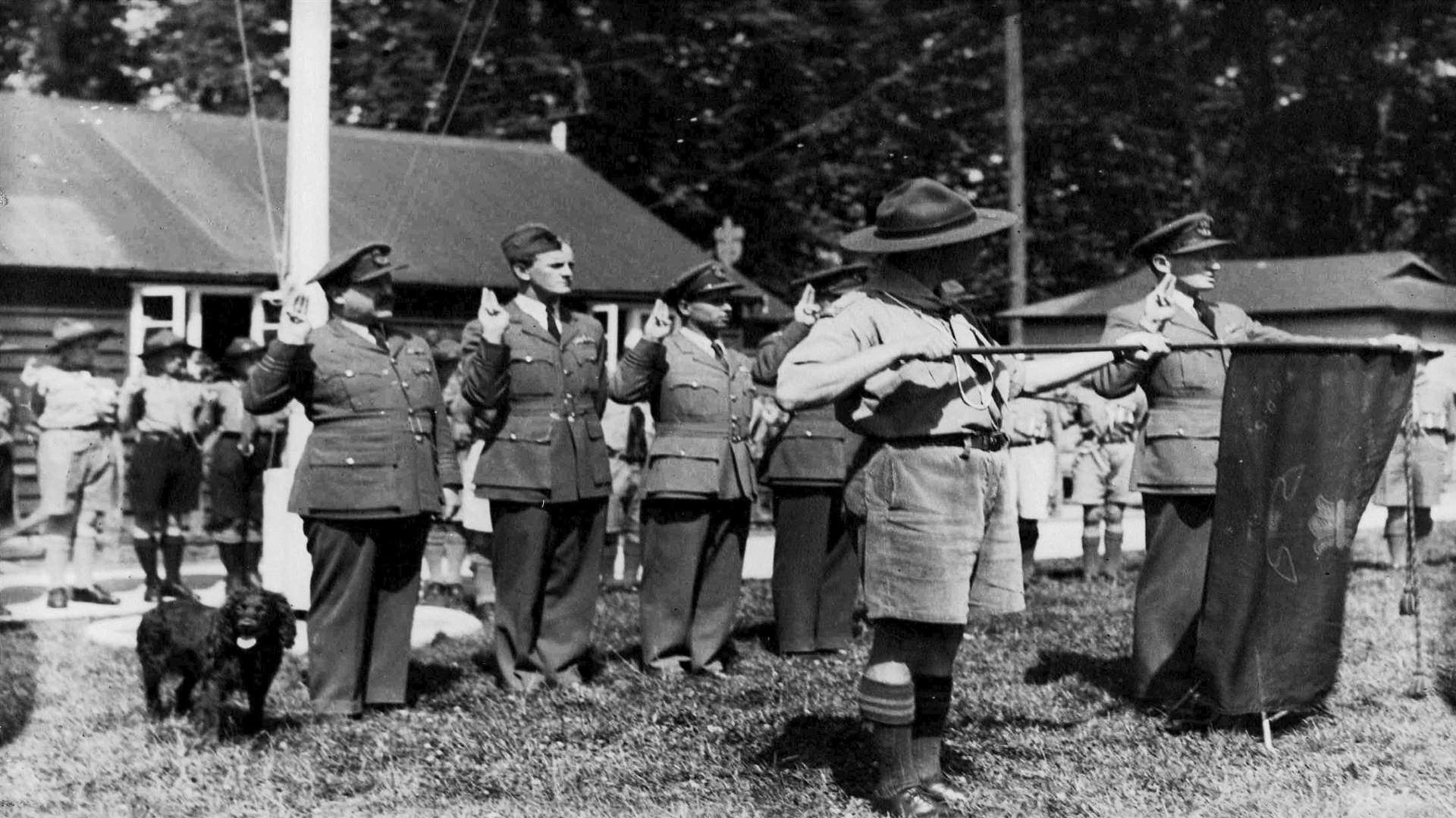 Guy Gibson being sworn in as a Venture Scout with the Tovil Scout Group, 1943. Courtesy of Tovil Scout Group