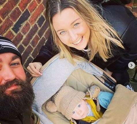 Lyndsay with her partner Karl and their baby son Henry