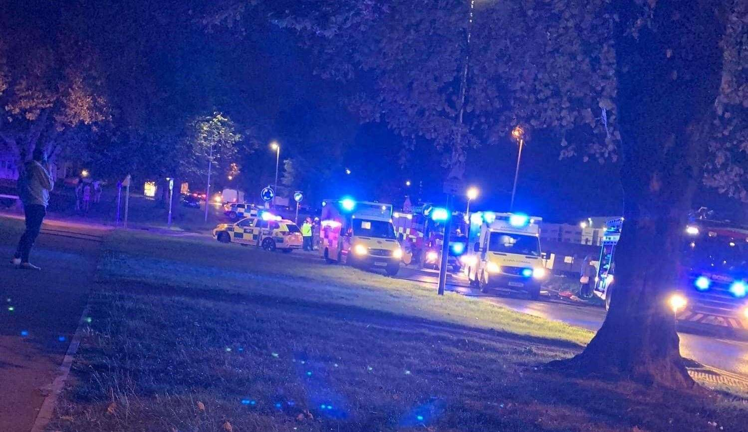 The scene of the crash which happened at the mini roundabout opposite MEMs in Twydall. Picture: Jamie Baird