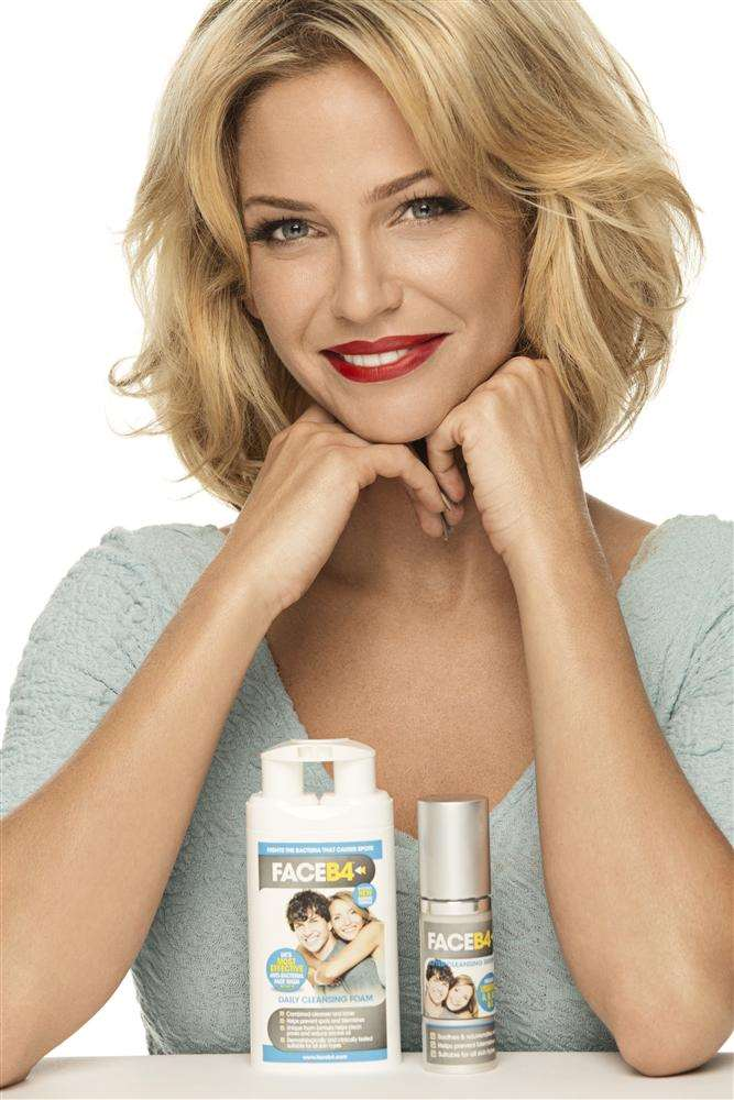 Sarah Harding with the FaceB4 skin products which have been produced by Medichem