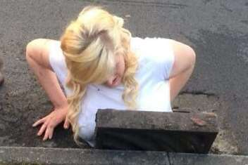 Ella Birchenough is rescued from a drain in Dover