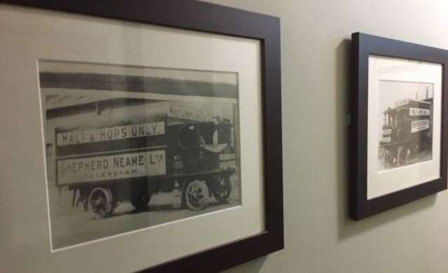 Shepherd Neame has always celebrated its history – photos en-route to the loos featured lorries from yesteryear