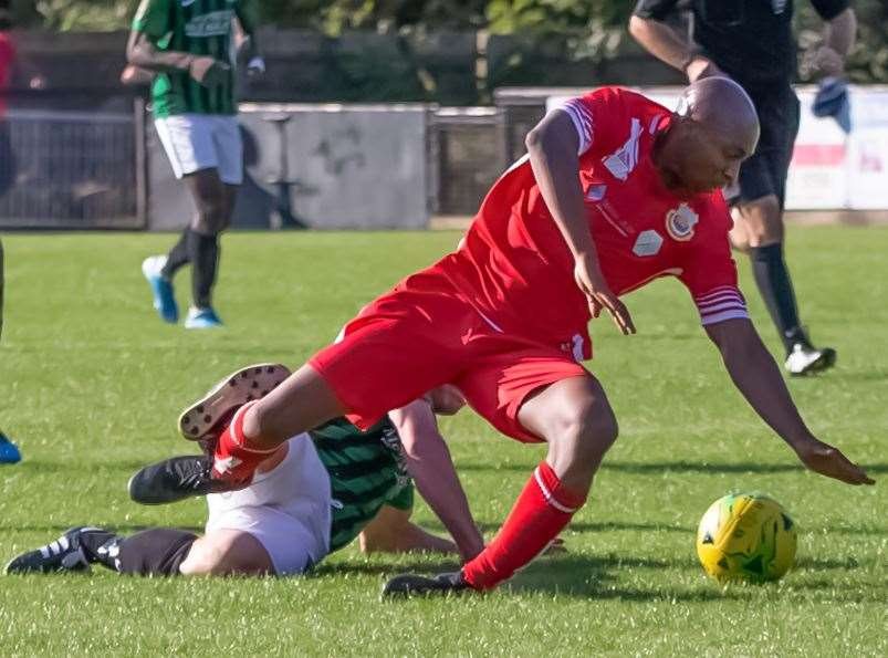 John Ufuah scored Whitstable's FA Trophy winner at Chalfont St Peter