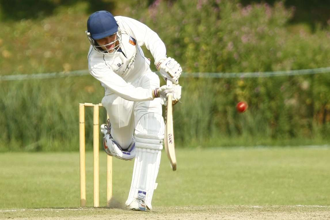Sandwich's Ryan Davis hits out during his side's five-wicket Premier Division win over Beckenham