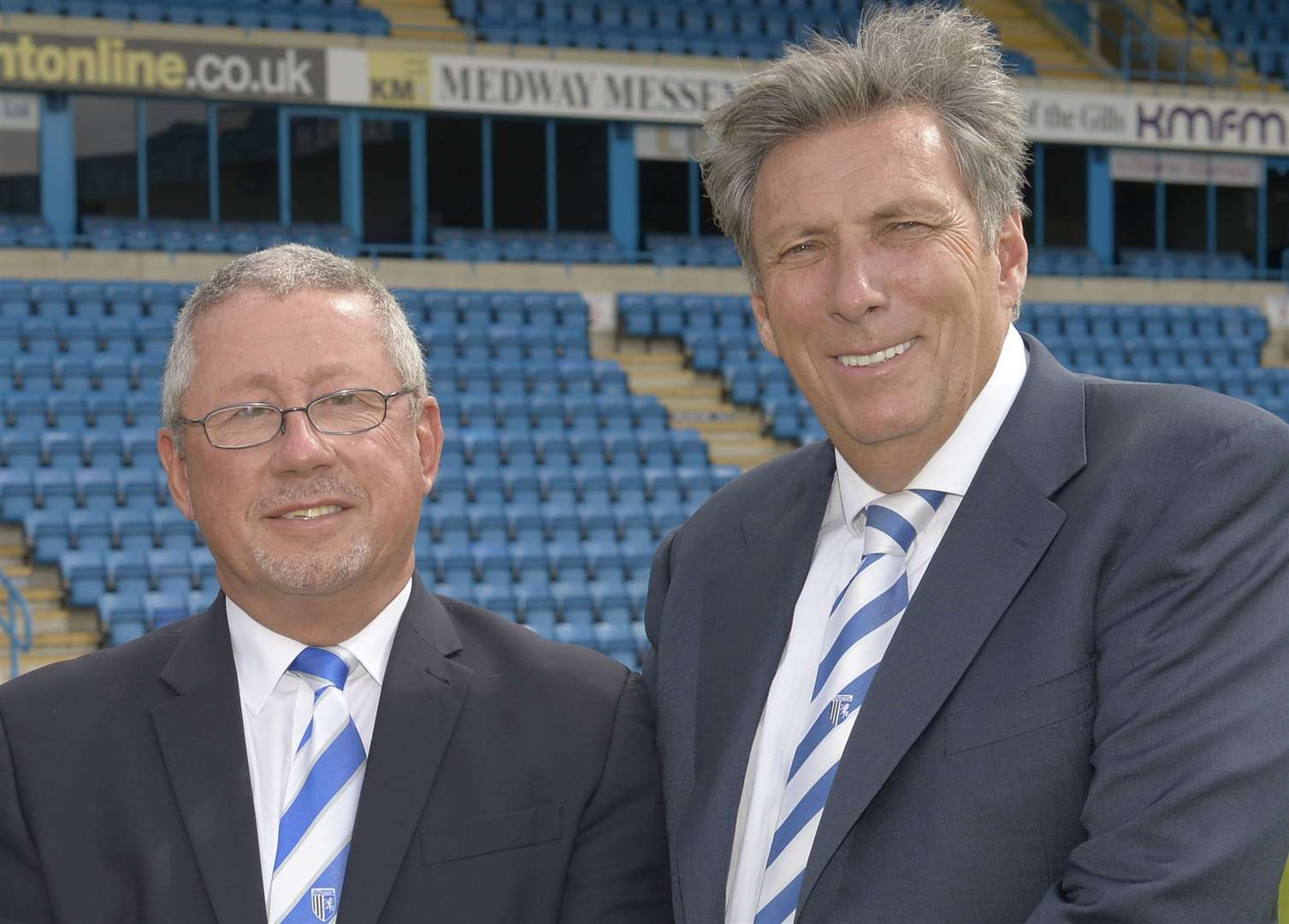 Gills chairman Paul Scally, left, with Michael Anderson. Picture: Andy Payton