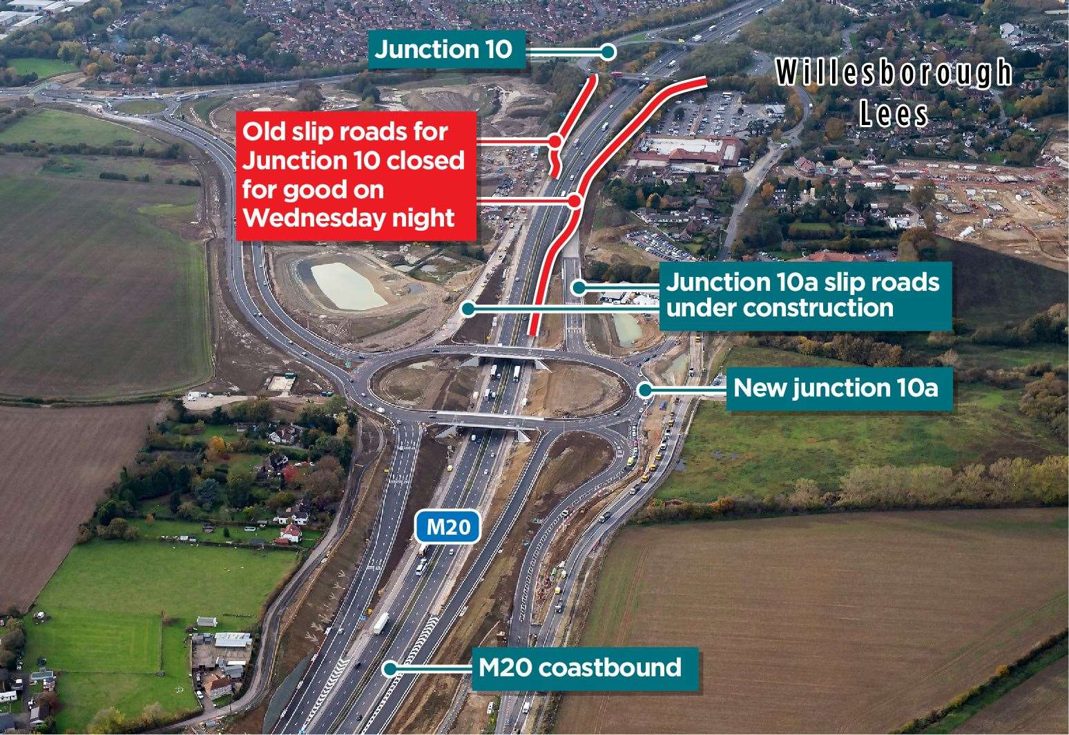 The coastbound on-slip and London-bound off-slip at Junction 10 closed on Wednesday night