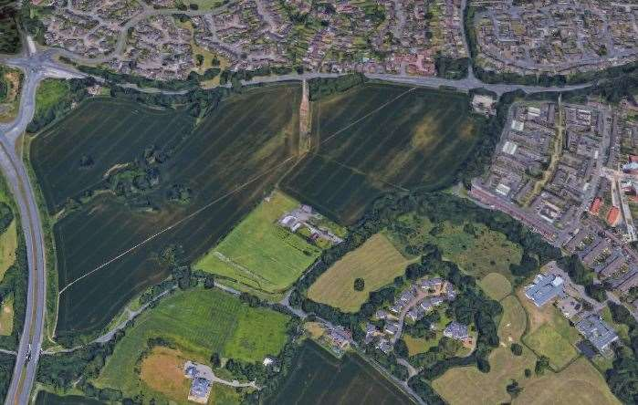 The location of the proposed housing scheme, with the A20 to the north and the A228 to the west. Picture: Google Earth