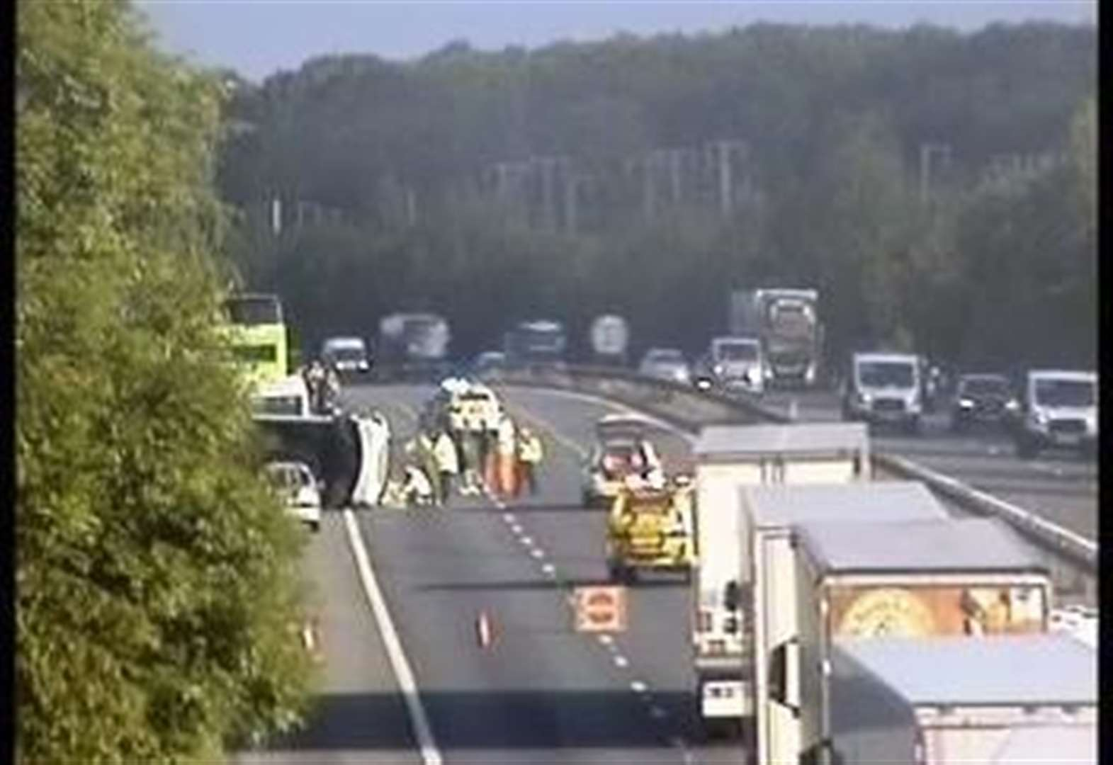 Van flip closes part of M20 after person injured
