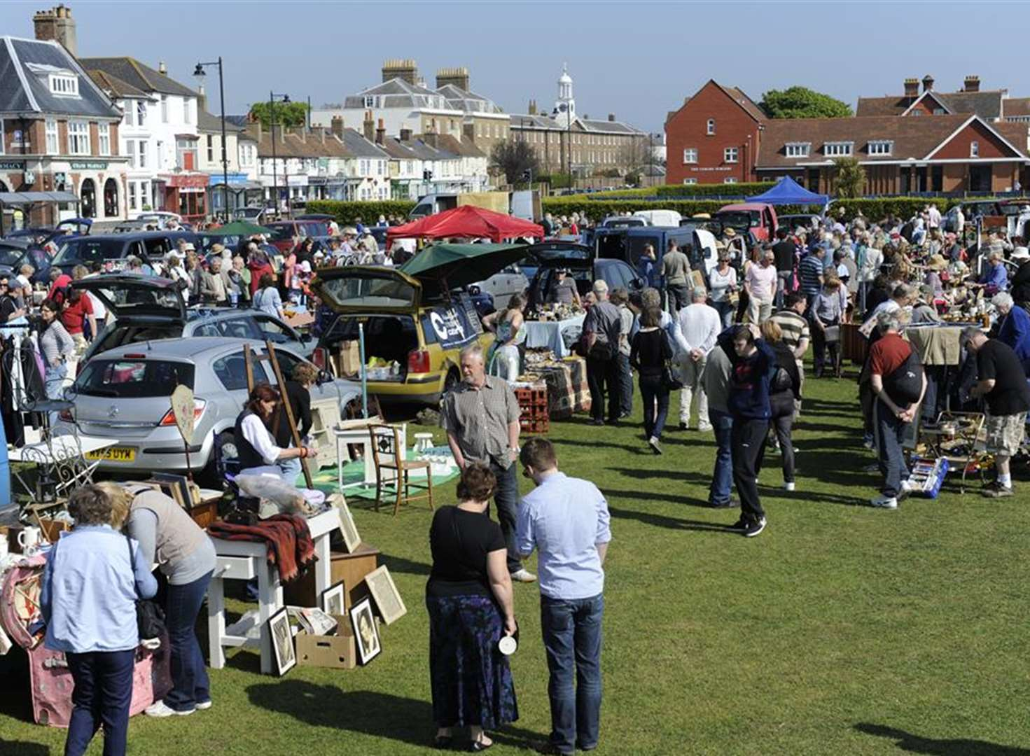 Stalls on the green for today's Brocante